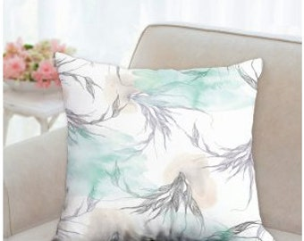 "Pillow case - ""lightness"" watercolor illustration - on throw pillow case 18"" x 18"", 22"" x 22"""
