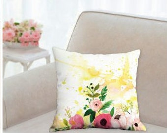 """yellow floral too"" - throw pillow case - floral watercolor -18"" x 18"", 22"" x 22"""