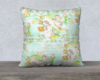 """""""Emmy""""- watercolor illustration -floral-striped- throw pillow case  22"""" x 22"""""""