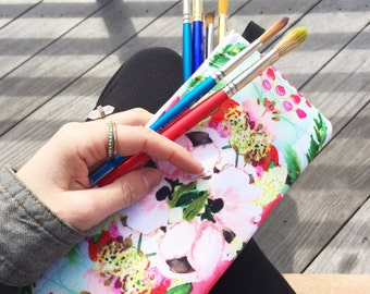 """pencil case- cosmetic pouch - clutch - in """"yellow floral"""" watercolor floral-  pencil case"""