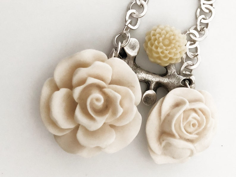 White Rose Resin Necklace