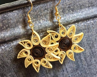 Quilled Sunflower Earrings