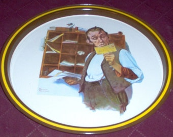 """Vintage Postal Collectors Tin Tray """"Norman Rockwell"""" 1976 First Ltd. Edition"""