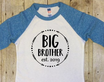 0c50660f Big Brother Shirt-Pregnancy Reveal Shirt-Big Brother Raglan Sleeve Shirt-Big  Brother Est. 2019-Big Brother Announcement-Blue-Made in USA