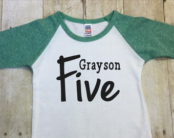 Birthday Boys Shirt Persomalized-Fifth Birthday Boy Shirt-Birthday 5th Birthday Boy Shirt-Five Birthday Shirt