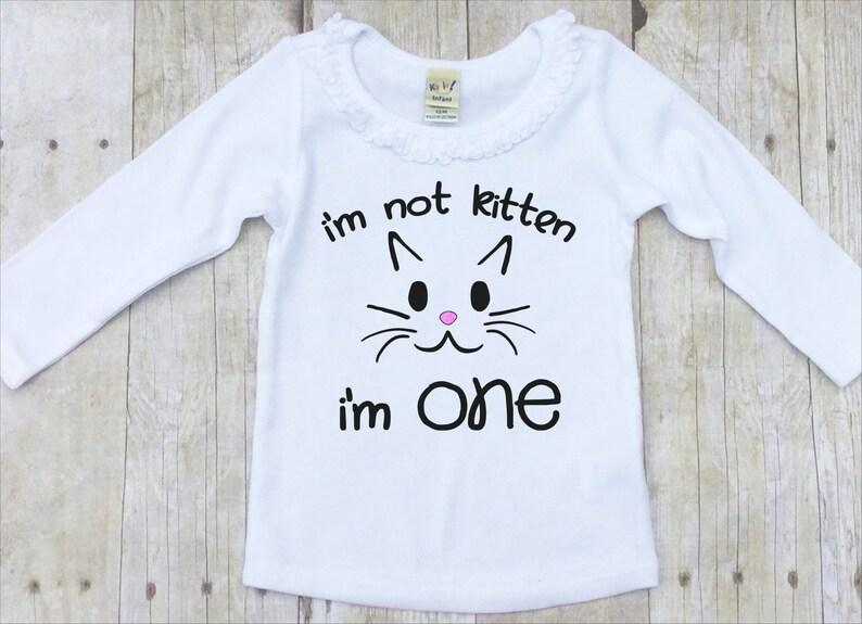 Girls First Birthday Shirt One Kitten