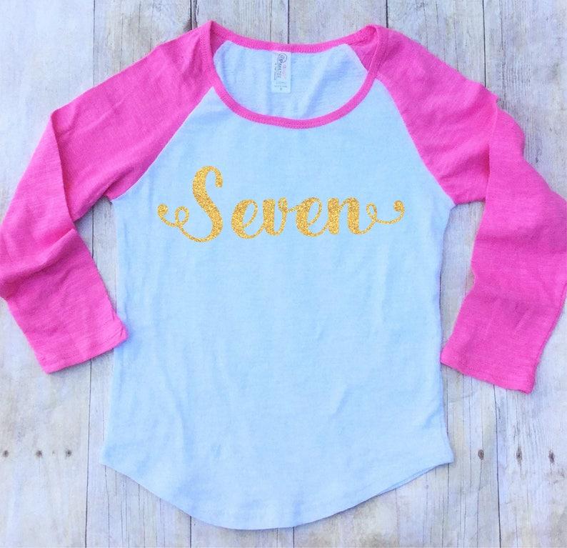 Girls 7th Birthday Shirt Seventh Seven