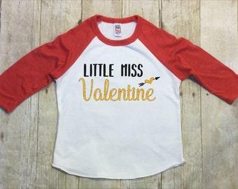 Valentines Day Shirt-Girls Valentine shirt-Little Miss Valentines Day Shirt-Red Valentines Shirt-Red Raglan-Gold Glitter