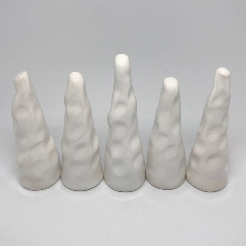 Abstract White Ceramic Ring Tree Holder Object Minimalist Decoration Ring Cone Texture Monochrome Unique Original Design Gift