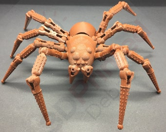 Pose-able Wolf Spider Figurine with Fanged Skull Abdomen