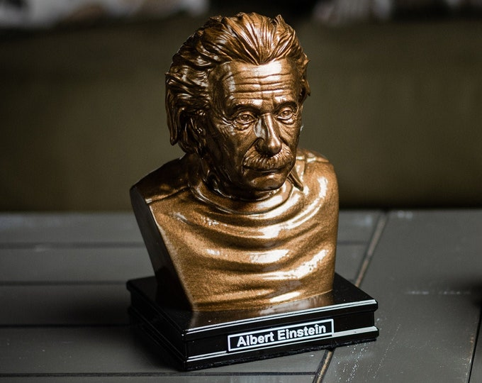 Featured listing image: Albert Einstein 8 inch Premium Solid Bust | Sculpture Art | Science Gift | Math Gift | Library | Study | Classroom | Faces of History