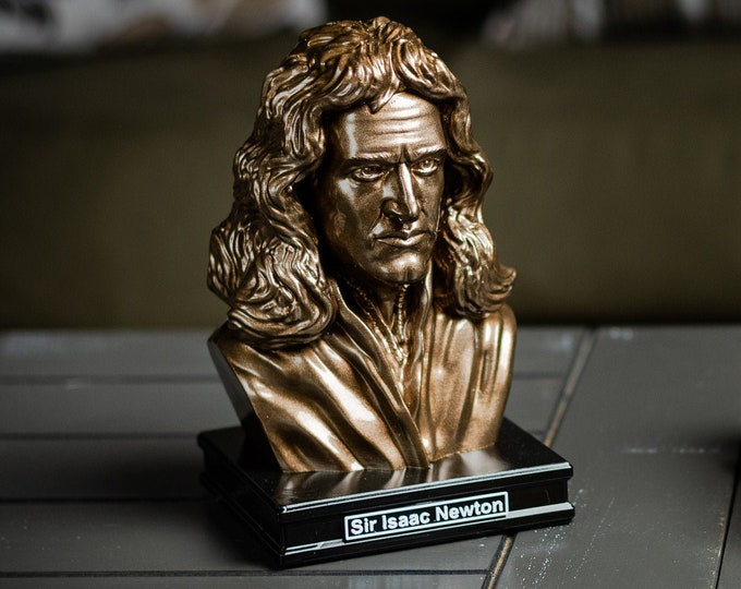 Featured listing image: Sir Isaac Newton 8 inch Premium Solid Bust | Sculpture Art | Science Gift | Math Gift | Library | Study | Classroom | Faces of History