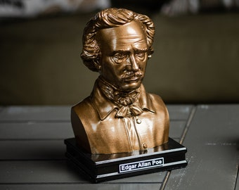 Edgar Allan Poe 8 inch Premium Solid Bust | Sculpture Art | Writer Gift | Library | Study | Classroom | Faces of History