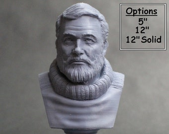 Ernest Hemingway American Journalist, Novelist, Short Story Writer, and Sportsman 3D Printed Bust