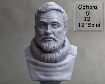Ernest Hemingway American Journalist, Novelist, Short Story Writer, and Sportsman 3D Printed Bust