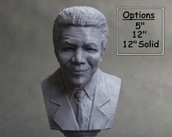 Nelson Mandela South African Anti-Apartheid Revolutionary 3D Printed Bust