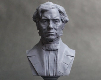 Michael Faraday Famous British Electromagnetic and Electrochemical Scientist 5 inch 3D Printed Bust