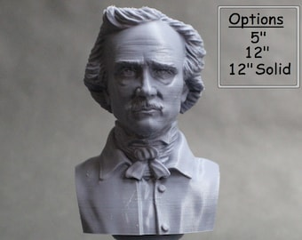 Edgar Allan Poe, American Writer, Editor, Poet, and Literary Critic 3D Printed Bust
