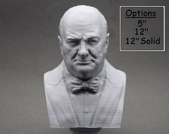 Winston Churchill British Statesman, Army Officer, Writer, and Prime Minister 3D Printed Bust
