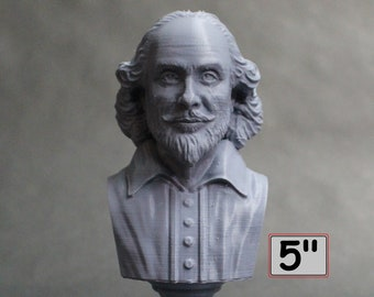 William Shakespeare, English Poet, Playwright, and Actor 5 inch 3D Printed Bust