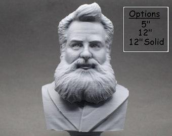 Alexander Graham Bell Famous American Inventor, Scientist, and Engineer 3D Printed Bust