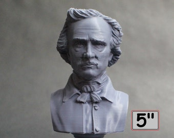 Edgar Allan Poe, American Writer, Editor, Poet, and Literary Critic 5 inch 3D Printed Bust