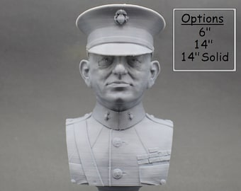 John A. Lejeune Legendary US Marine USMC General and 13th Commandant 3D Printed Bust