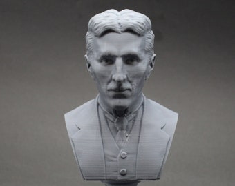 Nikola Tesla Famous Inventor, Electrical Engineer, and Futurist 5 inch 3D Printed Bust