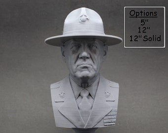 "R. Lee Ermey (with Drill Instructor Cover) USMC Retired ""The Gunny"" 3D Printed Bust"