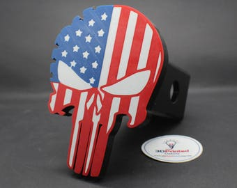 """Patriotic Skull Trailer Hitch Receiver Plug that fits 2"""" Receivers for car, truck, or SUV"""