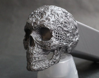 "Ornamental Skull Trailer Tow Hitch Receiver Plug Cover that fits 2"" Receivers for car, truck, or SUV Sugar Skull Dios Los Muertos"