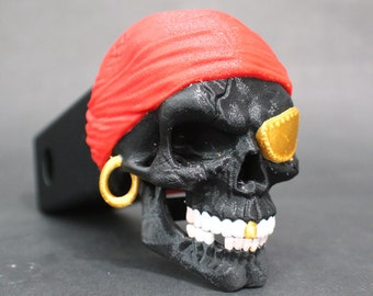 "Laughing Multicolor Pirate Skull Trailer Tow Hitch Receiver Plug Cover that fits 2"" Receivers for car, truck, or SUV"