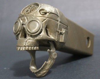 """Laughing Steampunk Skull Trailer Tow Hitch Receiver Plug Cover that fits 2"""" Receivers for car, truck, or SUV"""