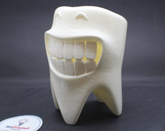 Cute Smiling Tooth 3D Printed Polished Vinyl Toothbrush Holder