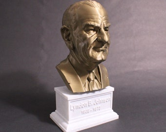 Lyndon B. Johnson USA President #36 12 inch 2 color 3D Printed Bust