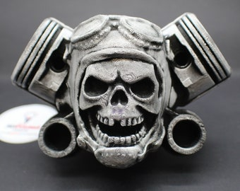 Moto Pilot Skull Plaque Wall Art with Pistons