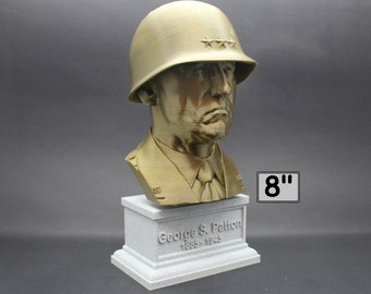 George S. Patton Legendary US Army General 8 inch 3D Printed Bust