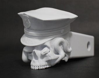 """Police with Snake Skull Trailer Tow Hitch Receiver Plug Cover that fits 2"""" Receivers for car, truck, or SUV"""