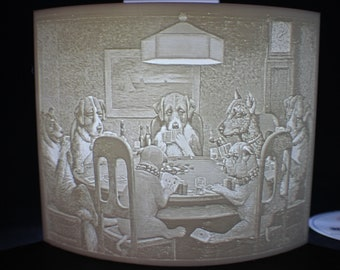 A Friend in Need 3D Printed Lithophane (AKA Dogs Playing Poker) inspired by famous Cassius Coolidge painting
