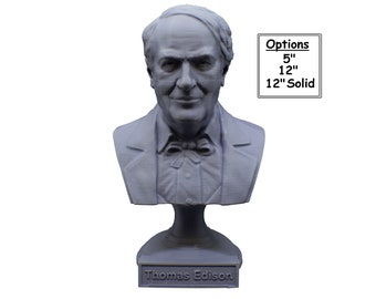 Thomas Edison Famous American Inventor and Businessman 3D Printed Bust