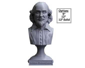 William Shakespeare, English Poet, Playwright, and Actor 3D Printed Bust