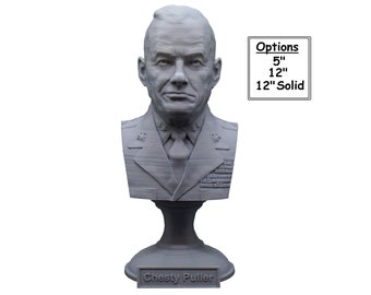 """Lewis Burwell """"Chesty"""" Puller Legendary US Marine Corps General USMC 3D Printed Bust"""