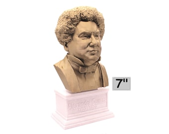 Alexandre Dumas Famous French Writer 7 inch 3D Printed Bust