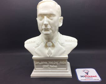 "General James ""Mad Dog"" Mattis USMC Ret. 3D Printed Polished Vinyl Sculpture"