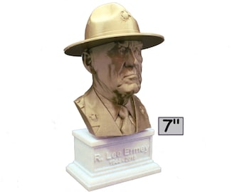 """R. Lee Ermey (with Drill Instructor Cover) USMC Retired """"The Gunny"""" 7 inch Bust"""