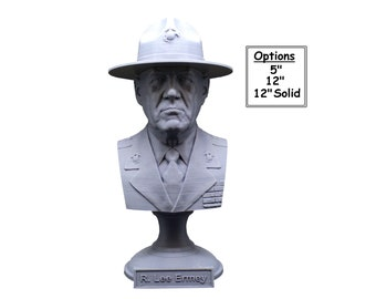 """R. Lee Ermey (with Drill Instructor Cover) USMC Retired """"The Gunny"""" 3D Printed Bust"""