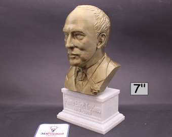 Pierre Trudeau (PET) 15th Canadian Prime Minister 7 inch 3D Printed Bust
