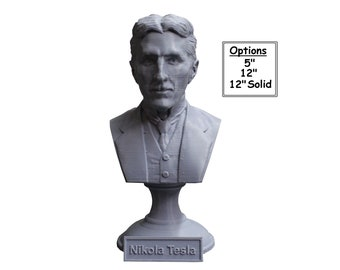 Nikola Tesla Famous Inventor, Electrical Engineer, and Futurist 3D Printed Bust
