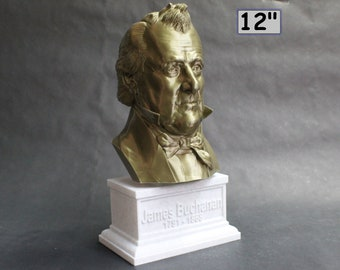 James Buchanan USA President #15 12 inch 2 color 3D Printed Bust