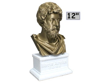 Marcus Aurelius Roman Emperor and Philosopher 12 inch 2 color 3D Printed Bust